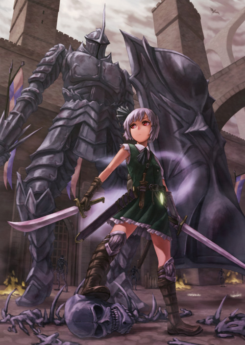 touhoupics:  Youmu enters the world of Demon's Souls. By kurione.  Damn Tower Knight, you're so sexy…