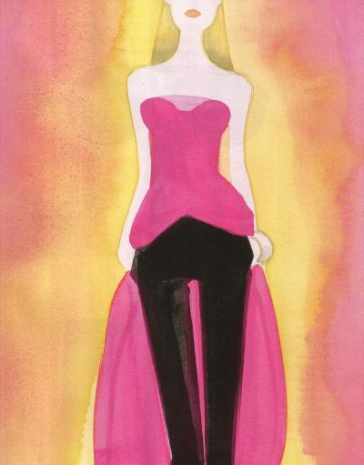 """Dior's New Look"", illustration by Mats Gustafson in Harper's Bazaar September 2012"