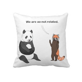 Panda pillows?  Panda pillows. The Pandas: So Not Related design is now in Narwhal Brigade.  Previous links to the design in Squiggles and Squirrels still work and the products are still available, but it's so much better to purchase them from Narwhal Brigade because it looks like they're in space.