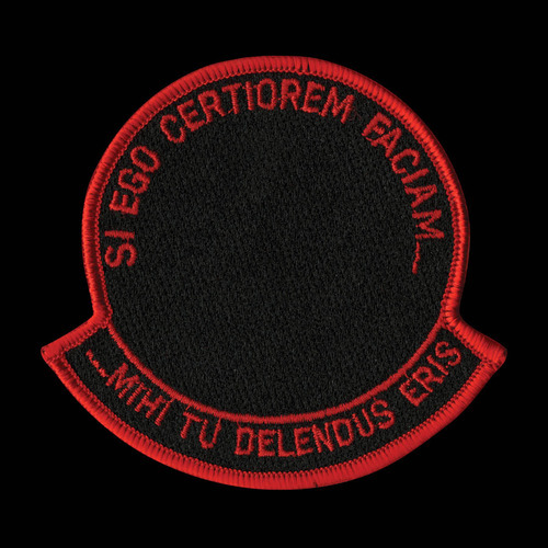 "thedorseyshawexperience:  This patch was designed as a generic insignia for ""black"" projects conducted by the Navy's Air Test and Evaluation Squadron Four (VX-4) based at Point Mugu, California .. The Latin phrase ""Si Ego Certiorem Faciam…Mihi Tu Delendus Eris"" roughly translates into a cliché commonly heard in the vicinity of ""black"" programs: ""I could tell you, but then I'd have to kill you.""The Latin phrase ""Si Ego Certiorem Faciam…Mihi Tu Delendus Eris"" roughly translates into a cliché commonly heard in the vicinity of ""black"" programs: ""I could tell you, but then I'd have to kill you. But the phrasing here is unusual because it is written in the passive voice: a more accurate translation of the Latin would be ""I could tell you, but then you would have to be destroyed by me."""