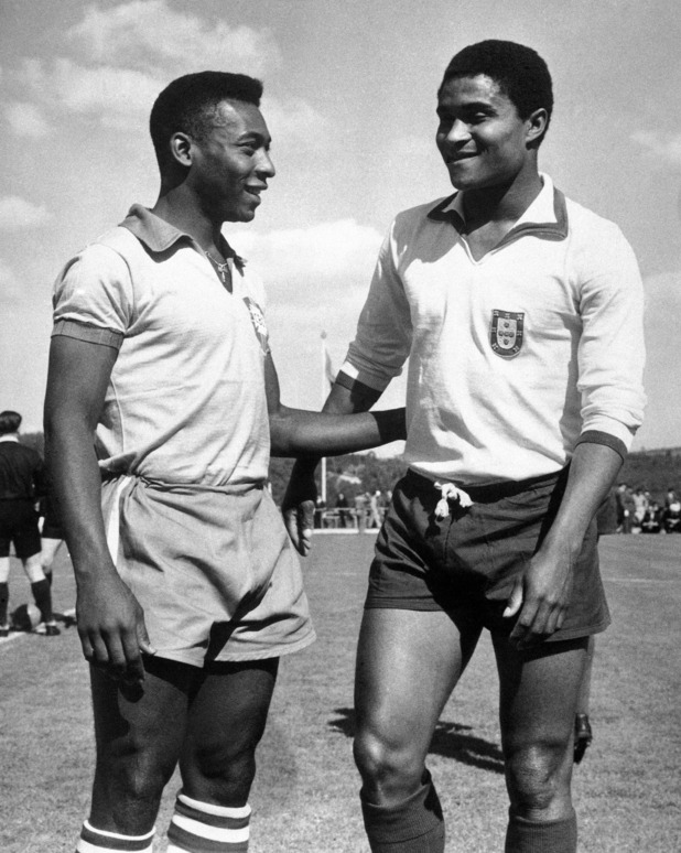 Pele and Eusebio before their friendly match, April 21, 1963. Portugal v Brasil (1-0).Source: Digital Spy