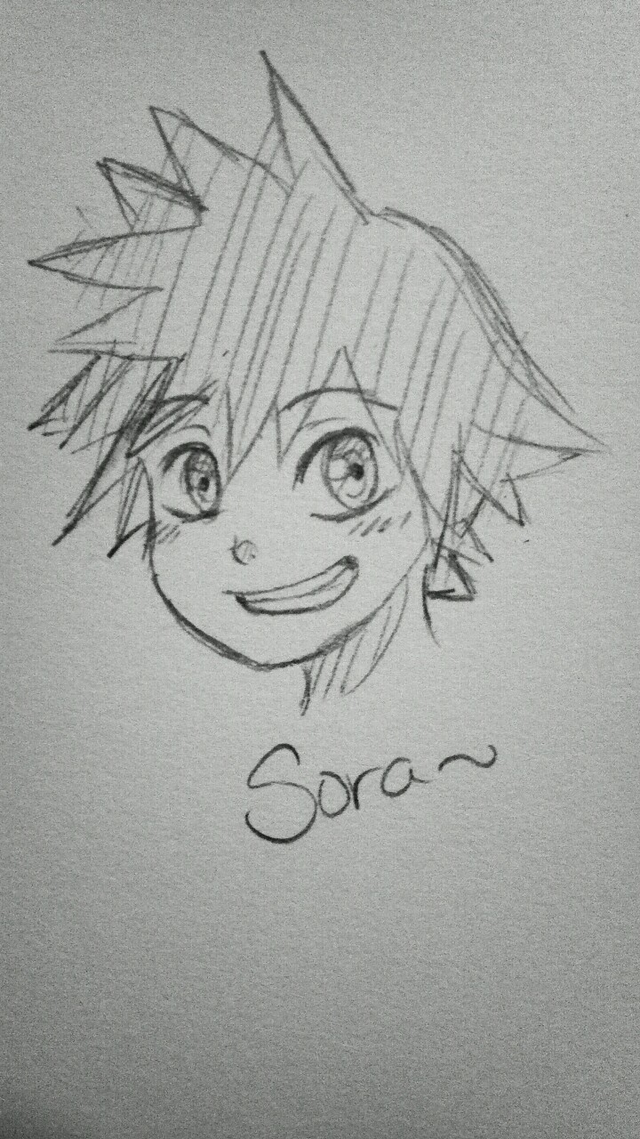 I doodled Sora, my little precious baby. I can't draw his hair to save my life. Guys…. Help me… I can't stop drawing… T______T