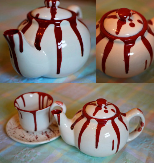 Blood-Spatter Ceramic Teapot by ~PepperCyanide