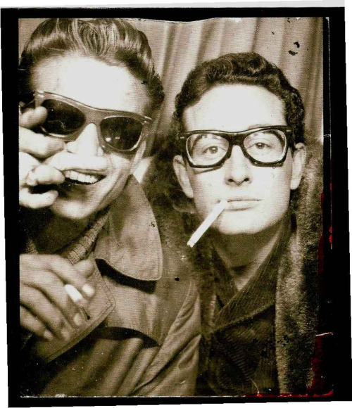 collective-history:  Waylon Jennings and Buddy Holly, January 1959   This is the coolest thing I've seen in a long time.