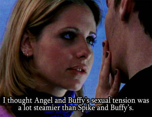 I thought Angel and Buffy's sexual tension was a lot steamier than Spike and Buffy's.