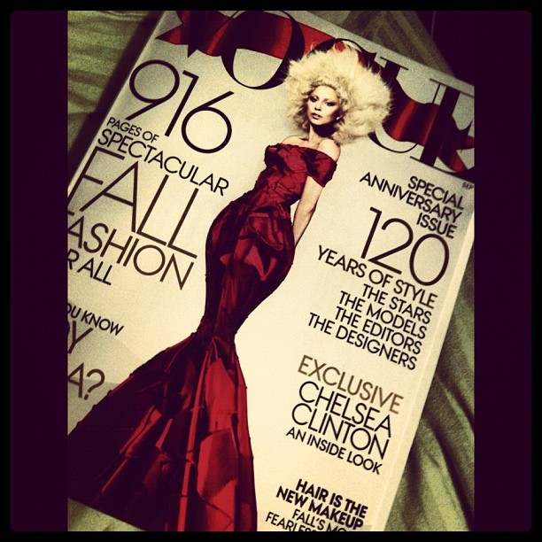 Much anticipated bedtime reading. #vogue #september #anniversary #maglove (Taken with Instagram)