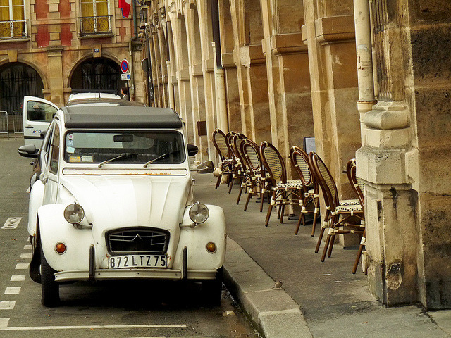 | ♕ |  Citroen 2CV at Place des Vosges, Paris  | by © ELuisCabrera  via ysvoice : aculturedcitizen