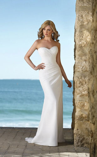 Trumpet /Mermaid Sweetheart Strapless Chapel Train Chiffon Wedding Dress