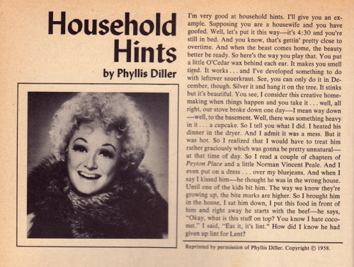 R.I.P. Phyllis Diller. Article found in Titters: The First Collection of Humor by Women (1976).