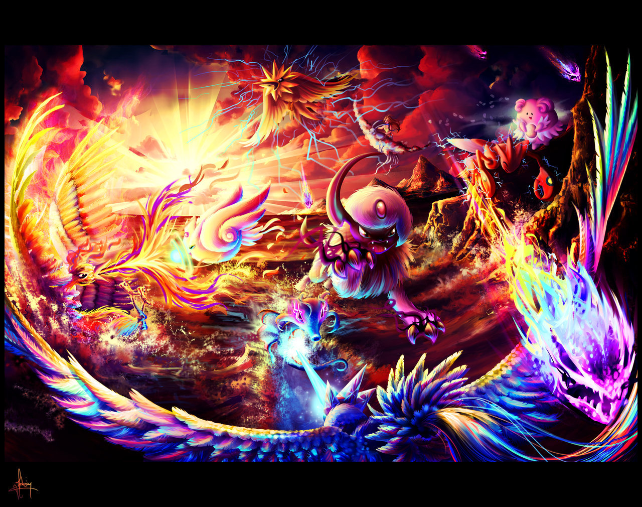 pokemonfourever:  Elemental Showdown by ~xblooiex
