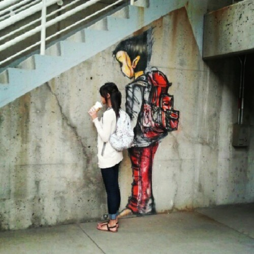 First day of college. Made a new friend! ;D (Taken with Instagram)