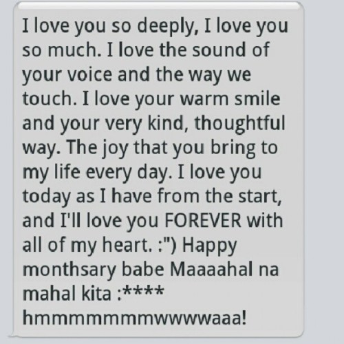 "Unexpected message. :""> #babe #boyfriend #love #19 #personal #mine #instamood #instagrammers #instagood #message #sweet  (Taken with Instagram)"