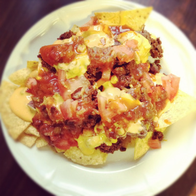 Homemade nachos with tofurky chorizo style ground beef