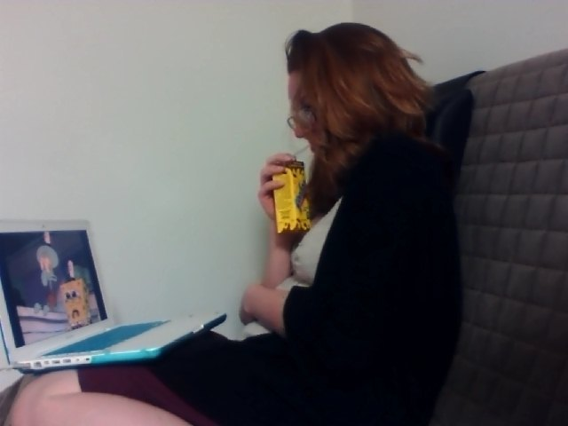 LOOK AT HOW CUTE ASHLEY IS WATCHING SPONGEBOB AND DRINKING ONE MY YOOHOOS Yo we were watching the Hash Slinging Slasher episode and god this show used to be so good.