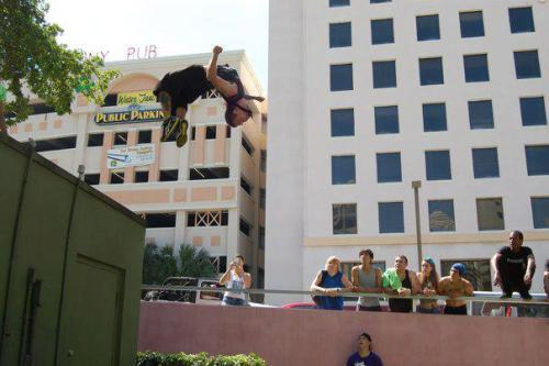 thor-traceunity-freerunning:  me throwing a backflip in downtown Ft.Lauderdal, FL at a freerunning jam