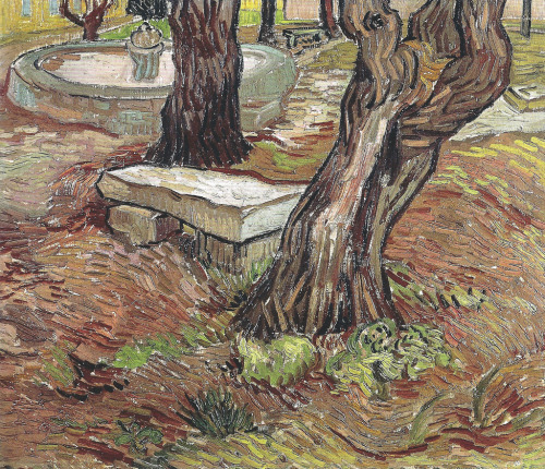 alongtimealone:  Vincent van Gogh - Bench in the Park of the Asylum at Saint-Remy, 1889 (Museu de Arte de Sao Paulo Assis Chateaubriand) Van Gogh: Up Close at Philadelphia Museum of Art (by mbell1975)