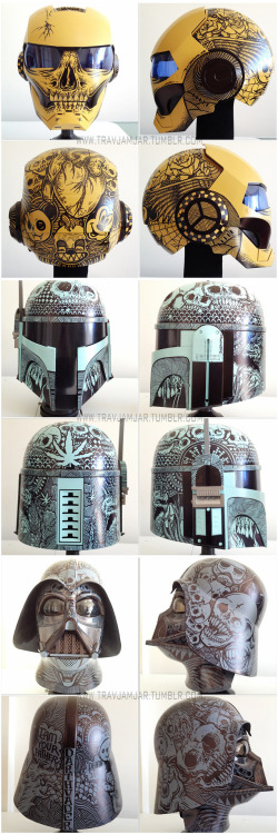 eatsleepdraw:  Ironman, Boba Fett, and Darth Vader. These 3 helmets I painted will be on display at the Wedge Gallery, Level 2, The Galleries, Sydney. As part of my 53 piece solo exhibition from September 6th till 17th. Check out more of my art at www.travjamjar.tumblr.com for what you can expect to see at the exhibition. If you are from Sydney I would love for you all to come along and see my work. Cheers.