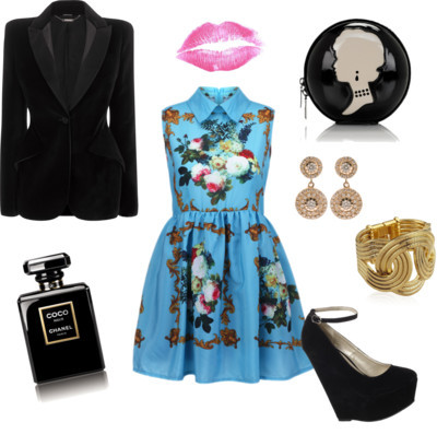Summer Dress in Winter by coreytess featuring a velvet jacketRetro style dressromwe.comAlexander McQueen velvet jacketalexandermcqueen.comJane Norman wedge sandals$55 - janenorman.co.ukLulu Guinness black handbagluluguinness.comIleana Makri butterfly earrings$4,865 - brownsfashion.comLara Bohinc yellow gold jewelry$740 - harrods.comMatte pink lipsticketsy.com