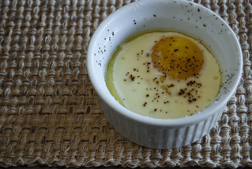 Simple Baked Egg Source: @Cooking_Light For such an absolutely basic recipe (butter, egg, and cream), it is perfection in a custard cup. The only modification I made was to use a four ounce cup instead and even that was a bit too large.