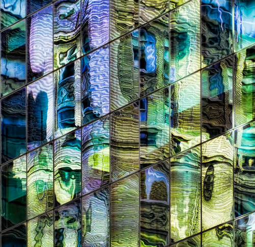 "pfemd9:  ""Emerald City"" Abstract of building reflection on Madison and 42nd Street in NYC.  Oh wow so beautiful!"