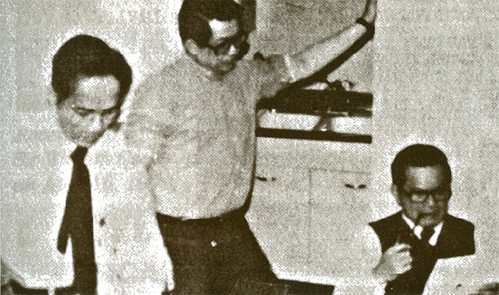 "malacanan:  Raul Manglapus, Benigno ""Ninoy"" S. Aquino Jr, and Salvador Laurel, preparing Ninoy's arrival statement. The speech would remain undelivered; on August 21, 1983, Ninoy was shot upon his return home from exile in the United States of America.  The Official Gazette has made available to the public, for the first time, the Filipino translation of Ninoy Aquino's undelivered speech."