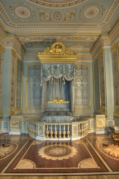 Gatchina Palace - The State Bedroom - gilded canopied bed made by A. Jacob, a famous French cabinet-maker of the late 18th century. Sweet dreams followers.