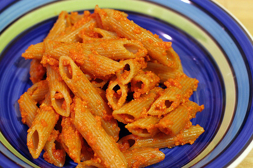 Tomato pesto penne. Recipe here.