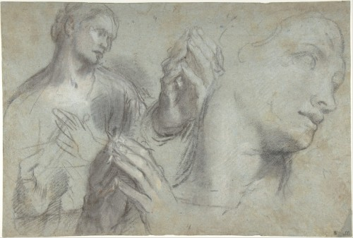 Federico Barocci Studies of a man's head and of his hands Black chalk, highlighted with white chalk and touches of red chalk, on blue-gray paper 11 x 16-1/4 in. (28 x 41.3 cm) ca. 1592–99