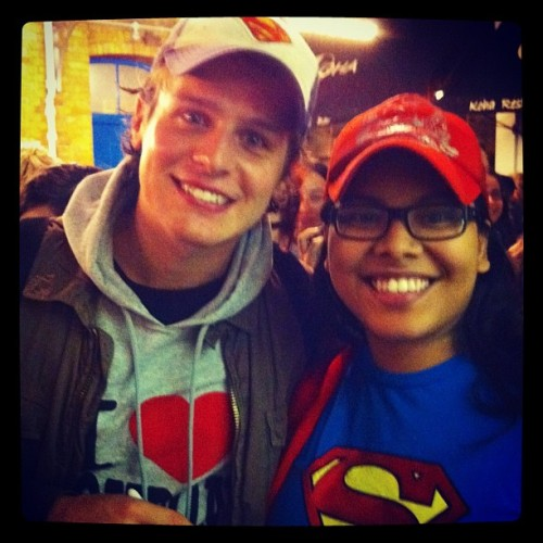 Two years ago today I met Jonathan Groff for the first time after the first preview performance of Deathtrap. He pointed out how we matched with our Superman stuff. I swooned. Good times. #jonathangroff (Taken with Instagram)