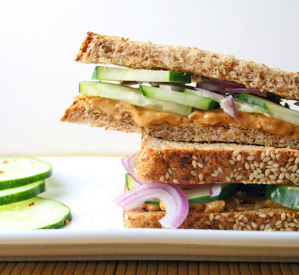 findvegan:  nutty cucumber sandwich!