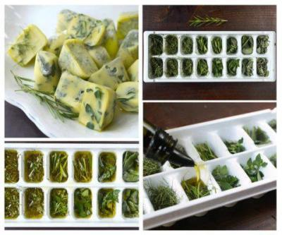 How to: Freeze & Preserve Fresh Herbs in Olive Oil1. Choose fresh herbs from the market or your own garden.2. You can chop them well, or leave on branches and leaves. In the photo, the herbs are finely chopped.3. Place on trays of ice cubes (about 2/3 full of herbs). 4. You can mix herbs (sage, thyme, rosemary).5. Place extra virgin olive oil or unsalted melted butter over the herbs.6. Cover with plastic and freeze.7. Remove frozen cubes and store in small containers or bags to freeze.8. Do not forget to label each container or bag with the type of herbs (and oil) inside  Genius.  (via lickystickypickywe)