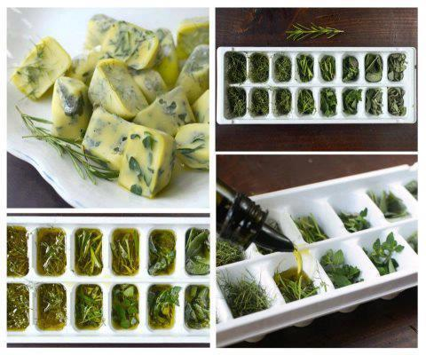 lickystickypickywe:  How to: Freeze & Preserve Fresh Herbs in Olive Oil1. Choose fresh herbs from the market or your own garden.2. You can chop them well, or leave on branches and leaves. In the photo, the herbs are finely chopped.3. Place on trays of ice cubes (about 2/3 full of herbs). 4. You can mix herbs (sage, thyme, rosemary).5. Place extra virgin olive oil or unsalted melted butter over the herbs.6. Cover with plastic and freeze.7. Remove frozen cubes and store in small containers or bags to freeze.8. Do not forget to label each container or bag with the type of herbs (and oil) inside