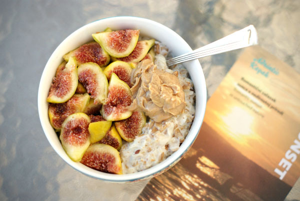 Figs, peanut butter and oatmeal.