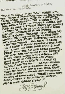laughingsquid:  Joe Strummer's thoughts on Bruce Springsteen