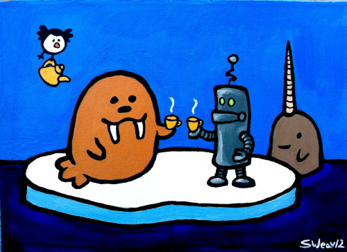 """A Very Fancy Tea Party"" acrylic on 9 x 12 canvas. 2012."