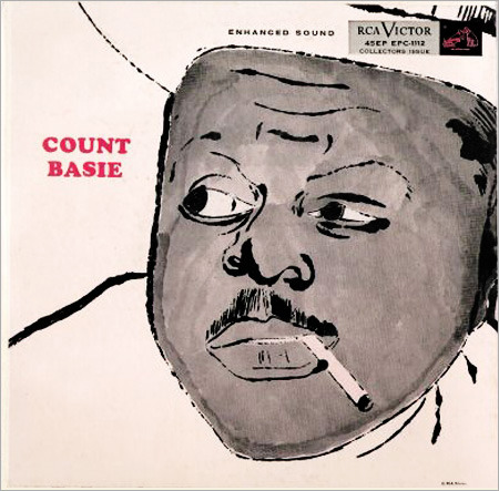 Count Basie Cover Art by Andy Warhol In honor of Count Basie's 108th birthday, I'm sharing this classic 1955 RCA Victor album cover illustrated by none other than Andy Warhol, one of many he did for the label — dig some more of 'em here!