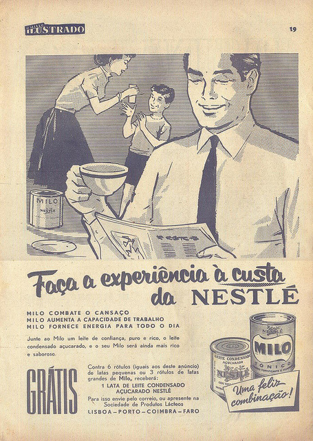 "O Século Ilustrado, Nº 1158, Março 12 1960 - 18 on Flickr.  Click image for 921 x 1296 size. ""Make the experience at Nestlé's expense Milo fights fatigue Milo increases work ability Milo provides you with energy for the whole day Add to Milo a milk that you can trust, pure and rich, sugared condensed milk, and your Milo will be even richer and tastier. FREE For 6 labels (like those in this ad) from small cans or 3 labels from big cans of Milo, you will receive: 1 can of sugared condensed Nestlé milk"""