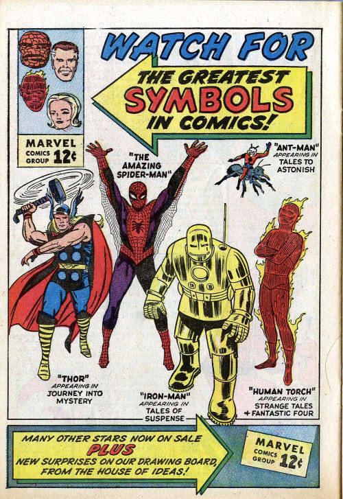 "seanhowe:  This is it—with this advertisement, the Marvel Age truly began. The first branding of the ""Marvel Comics Group."" The first mention of ""The House of Ideas."" The first time this many characters from different titles shared a page. From Fantastic Four #14, published February 12, 1963."