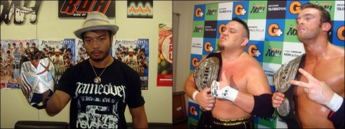 "[NOAH News] It has been announced that the GHC Tag belts will be defended on October 8th as the reigning champions Samoa Joe & Brutus Magnus will be facing the NO MERCY team of KENTA & Maybach Taniguchi. KENTA declared himself the #1 contender for the tag belts following the win over the former champions on August 19th, and in just a few days the NOAH committee obviously thought the same.  KENTA is also the current contender for the GHC Heavy belt for the upcoming show on September 19th. Pro Wrestling NOAH ""GREAT VOYAGE 2012 in YOKOHAMA vol.2"", 10/8/2012 [Mon] 14:00 @ Yokohama Cultural Gymnasium in Kanagawa Pref. (-) GHC Heavy Tag Championship Match: [24th Champions] Samoa Joe & Brutus Magnus [TNA] vs. [Challengers] KENTA & Maybach Taniguchi ~ 1st Defense."