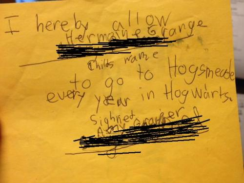 One of our children's librarians found this crumpled on the floor yesterday. Why anybody would be so careless with a Hogsmeade permission slip is beyond me! These things are priceless! (We helped electronically with the crossing out, because originally the young witch-author wrote in her name and signed her mom's name. At some point she thought better of it, scribbled them out, and swapped them for Hermione and her mum.)