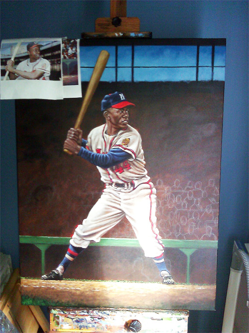 Work in progress. A young Hank Aaron of the Milwaukee Braves. Lots of work left to do. Gotta put some fannies in the seats. Should post the final next week.
