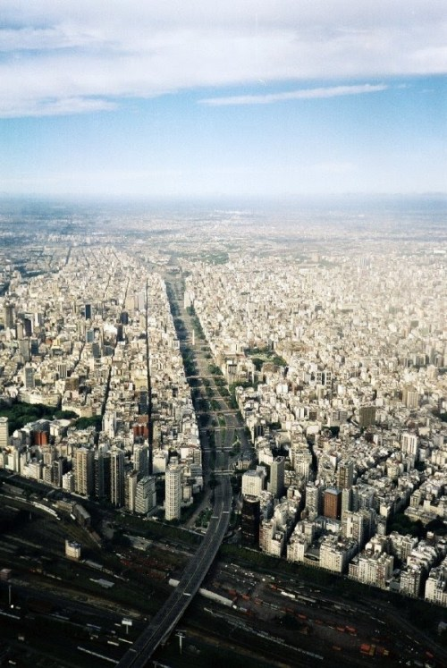Aerial view of the Obelisk of Buenos Aires