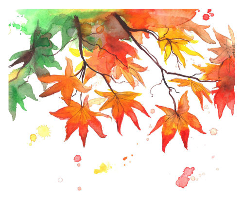 autumn's colors watercolor [by jessica durrant] via etsy