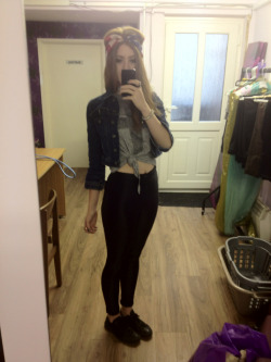 What I wore today American apparel black disco pants , new look printed cross tee, vintage denim jacket, black converse, American flag bandanna