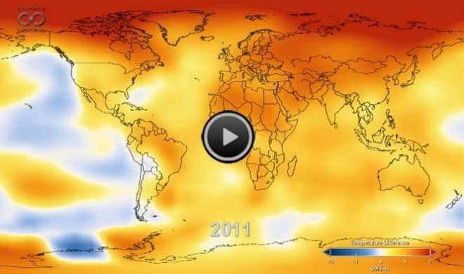 "Watch 131 Years of Global Warming in 26 Seconds | Climate Central While temperatures have been blistering this summer, this video takes the longer historical view. It comes to us from our friends at NASA and is an amazing 26-second animation depicting how temperatures around the globe have warmed since 1880. That year is what scientists call the beginning of the ""modern record."" You'll note an acceleration of those temperatures in the late 1970s as greenhouse gas emissions from energy production increased worldwide and clean air laws reduced emissions of pollutants that had a cooling effect on the climate, and thus were masking some of the global warming signal. The data come from NASA's Goddard Institute for Space Studies in New York, which monitors global surface temperatures. As NASA notes, ""in this animation, reds indicate temperatures higher than the average during a baseline period of 1951-1980, while blues indicate lower temperatures than the baseline average."""