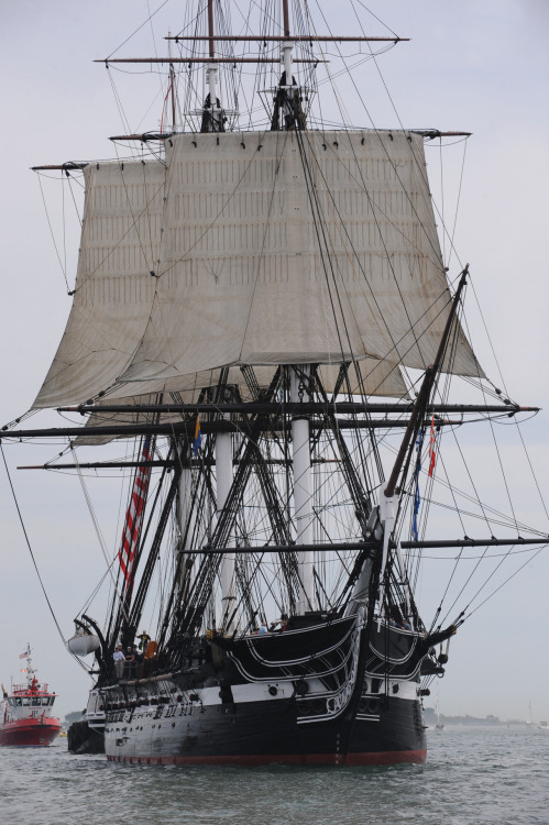 The world's oldest commissioned warship, USS Constitution, sails under her own power. This is only the second time in 131 years traveling without help. The last time Constitution sailed was 1997. This exercise commemorates the 200th anniversary of the Constitution's victory over the British frigate Guerriere during the War of 1812.  U.S. Navy photo by Mass Communication Specialist 1st Class Andrew Meyers / Released