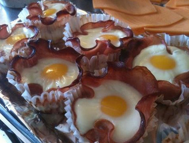 "Bacon + Egg + Cheese ""Flower"" Cupcake.  Perfect Breakfast = achieved."