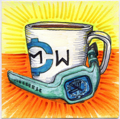 "I drew you a Modified Mug of Coffee With a Sea Foam Green Strap and limited edition FB Blue Face. I hope you like it.I hope you like it.This is part of my ""The Daily Coffee"" marker drawing series."