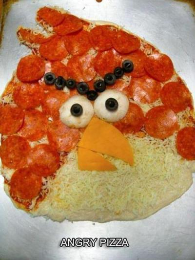 In Food + Art news. Here's an Angry Birds Pizza. Warning: Clicking here results in another angry bird.