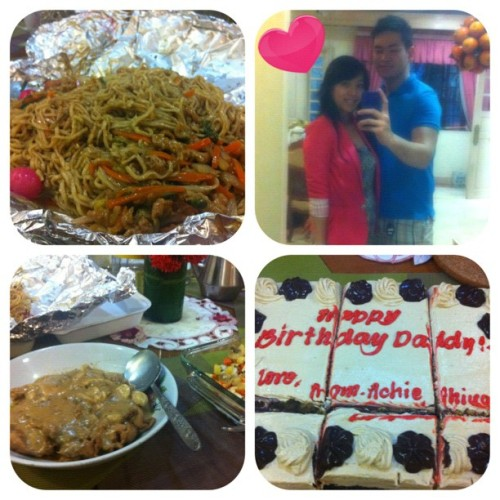 #picstitch Dinner with Kate's Family! Happy Bday Uncle… #bdaynoodles #porksteak #shrimp #rice #cake #happy #love #blessed #bdaycelebration  (Taken with Instagram at Kates' Crib)
